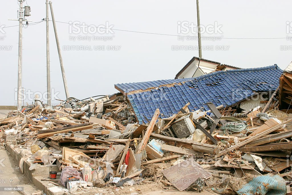 Japan Tsunami Earthquake 2011 Murohama village destruction stock photo