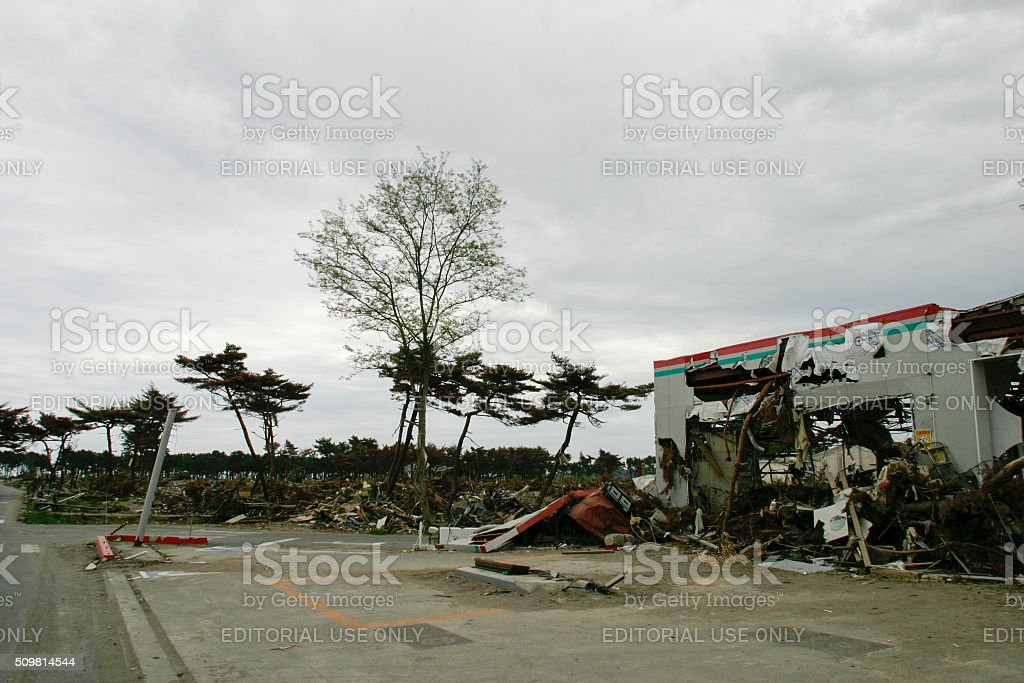 Japan Tsunami Earthquake 2011 Nobiru city destruction stock photo