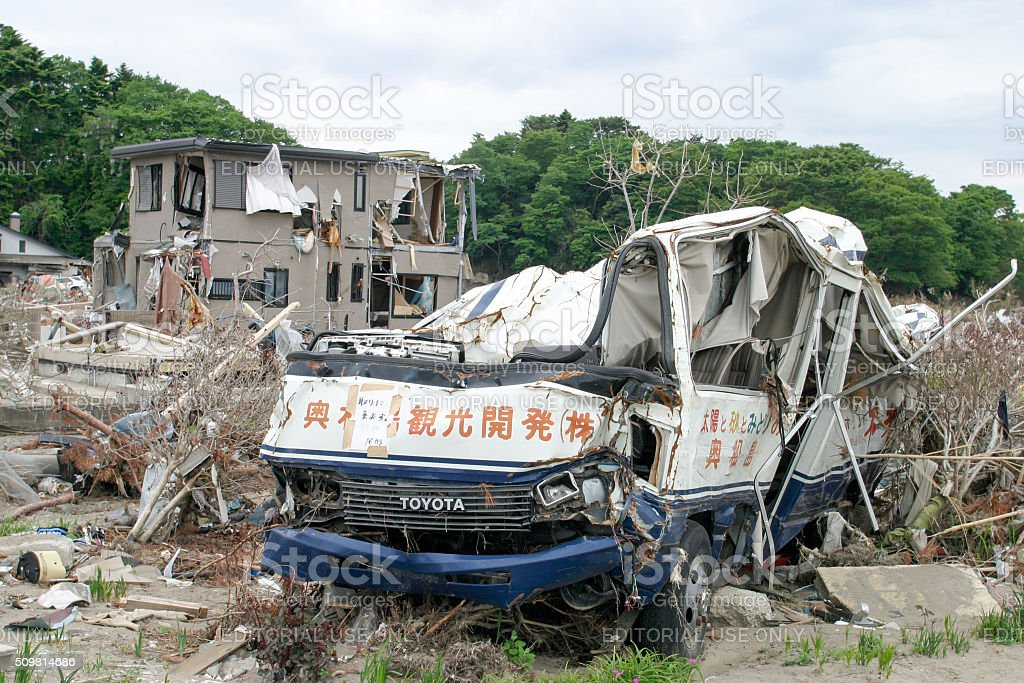 Japan Tsunami Earthquake 2011 Nobiru city destruction Tour bus stock photo