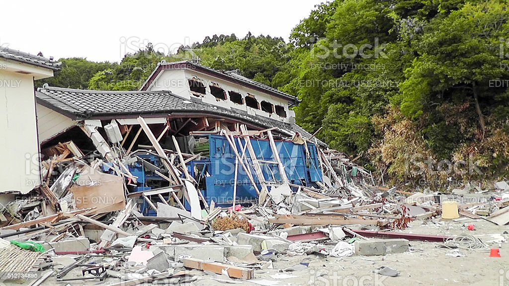 Japan Tsunami Earthquake 2011 Ohama village destruction stock photo