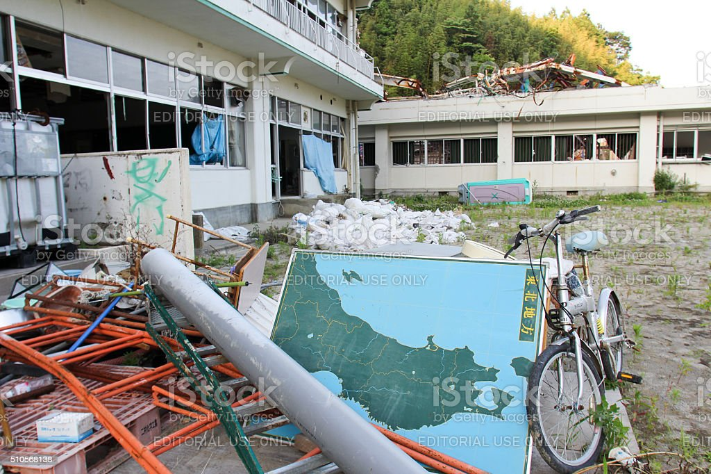 Japan Tsunami Earthquake 2011 Rikuzen Aikawa Elementary School stock photo