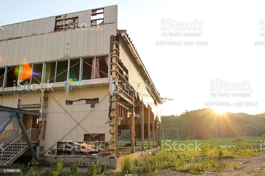 Japan Tsunami Earthquake 2011  Yoshihama Elementary School stock photo