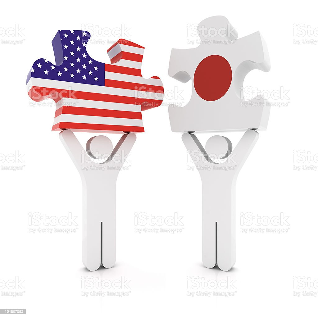 Japan USA Puzzle Concept royalty-free stock photo