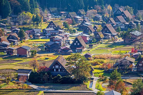 Japan-aerial view of Shirakawa-Go stock photo
