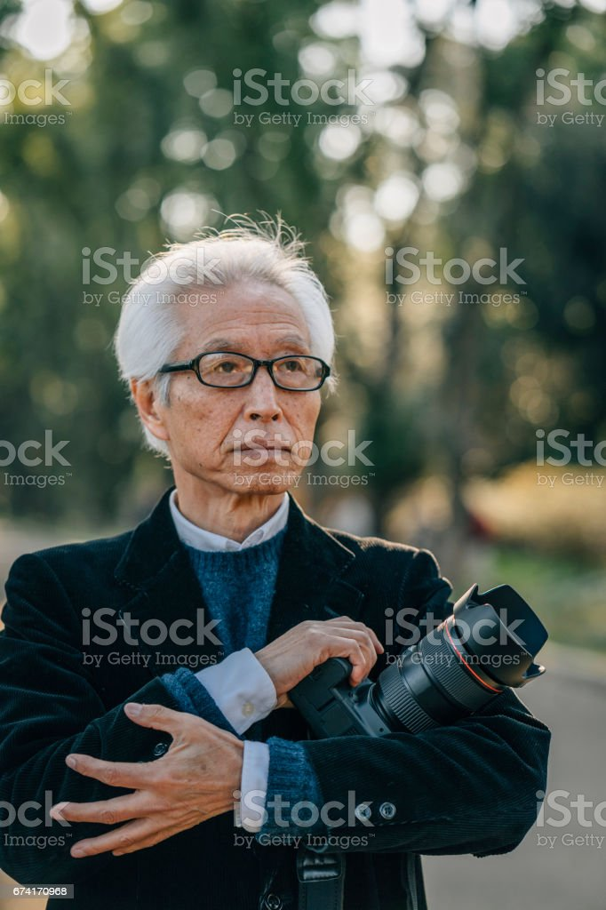 Japanese adult photographer stock photo