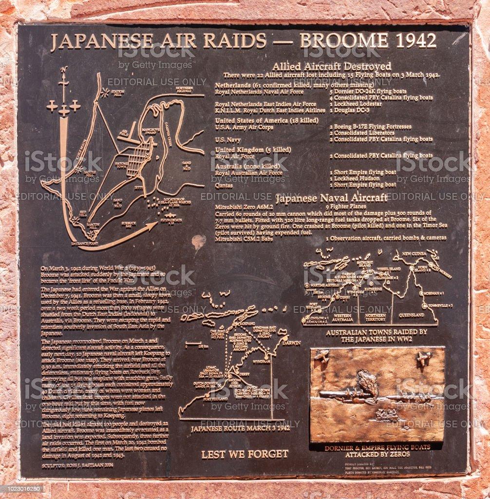 日本の空襲記念プレート、ブルーム オーストラリア。 ストックフォト