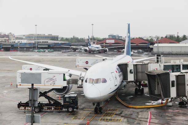 ANA - Japanese Airline's flight getting ready at Mumbai Airport stock photo