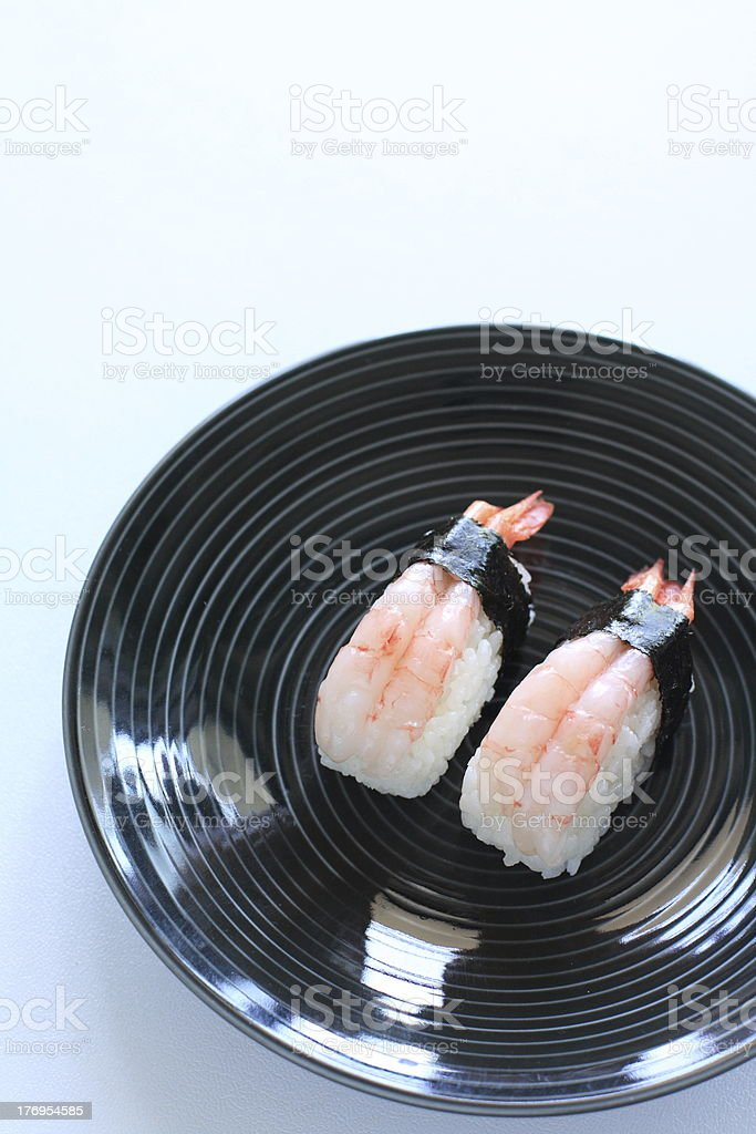 Japanese Amaebi Shrimps Sushi royalty-free stock photo