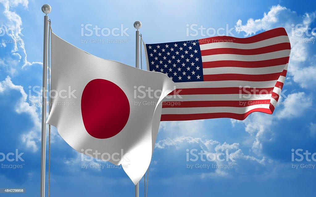 Japonês e Estados Unidos bandeiras hasteadas em conjunto para negociações diplomáticas - foto de acervo