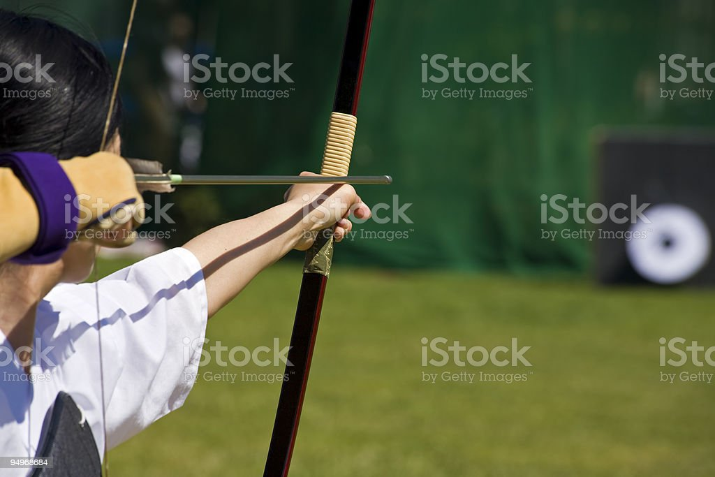 japanese archer aiming stock photo