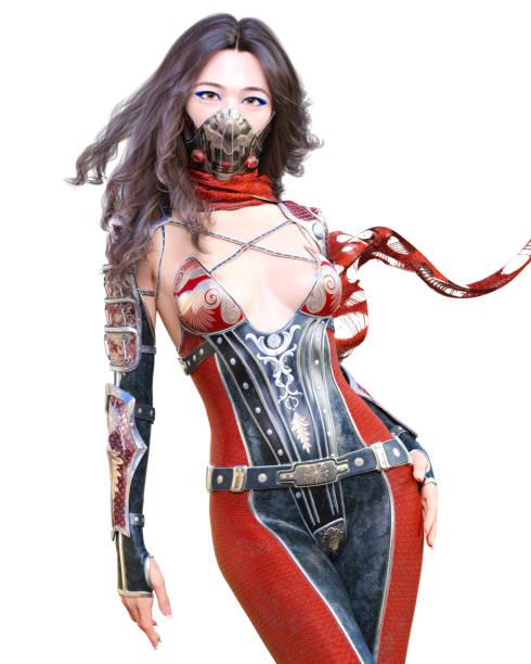 3d japanische assassin frau render. - ninja krieger stock-fotos und bilder