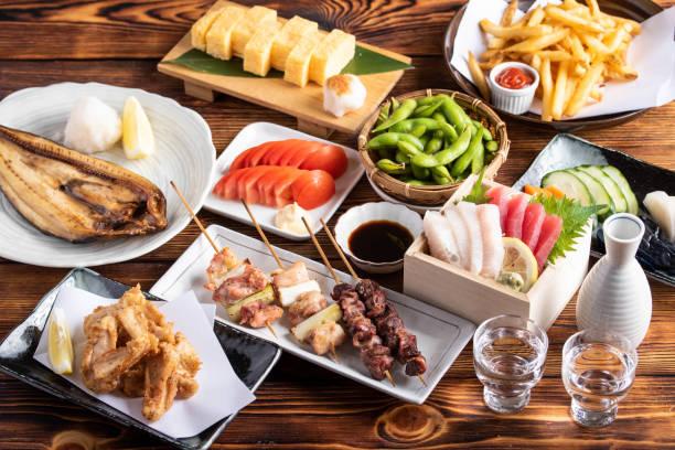japanese assorted popular izakaya appetizers stock photo