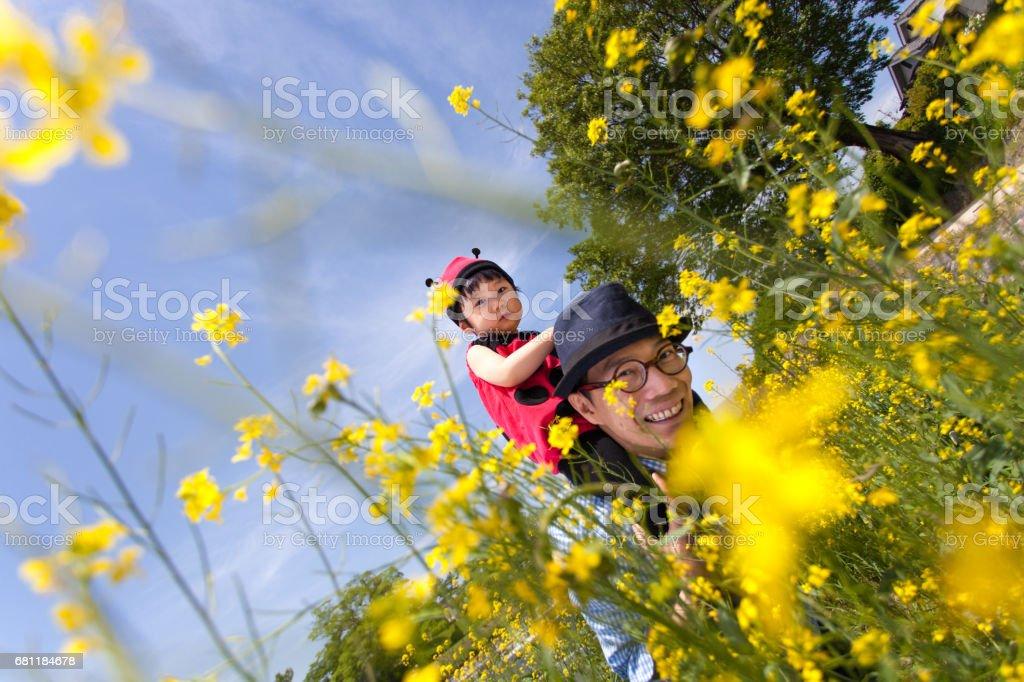 日本の赤ちゃんの父親におんぶにてんとう虫コスチューム女の子 ストックフォト