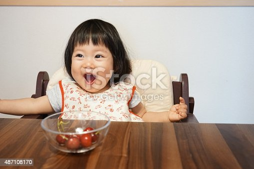 istock Japanese baby girl is happy with fruits(cherry and banana) 487108170