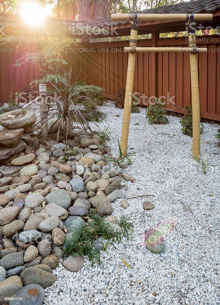 Japanese bamboo torii gate and garden stock photo