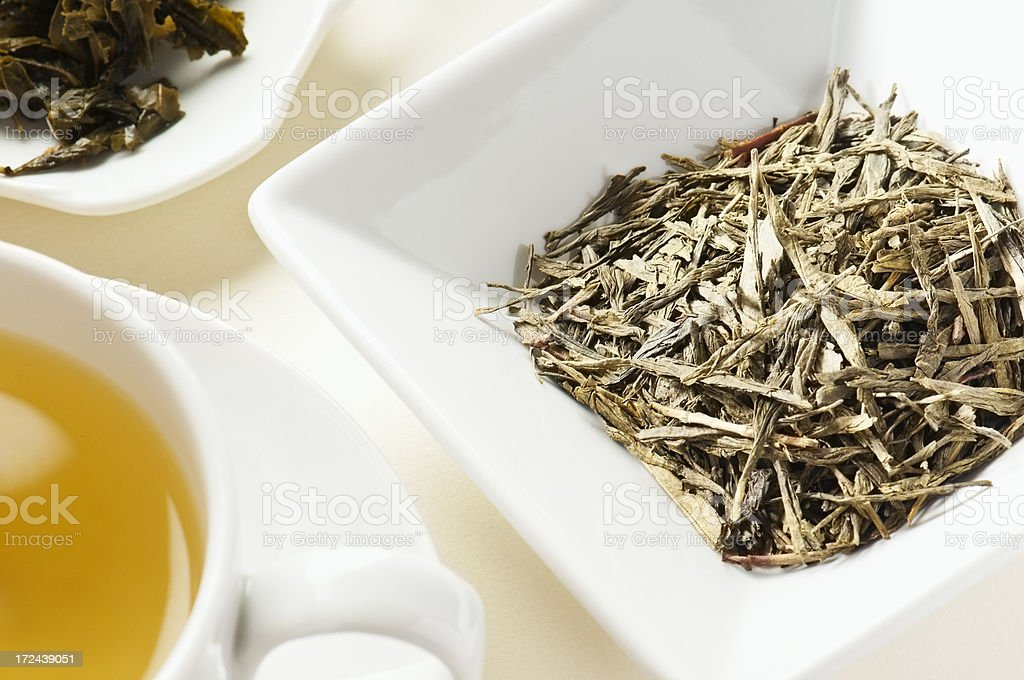 Japanese Bancha green tea leaves behind cup of tea royalty-free stock photo