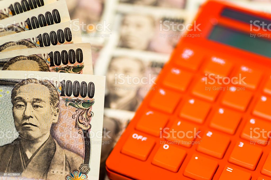 Japanese banknotes with colorful calculator stock photo