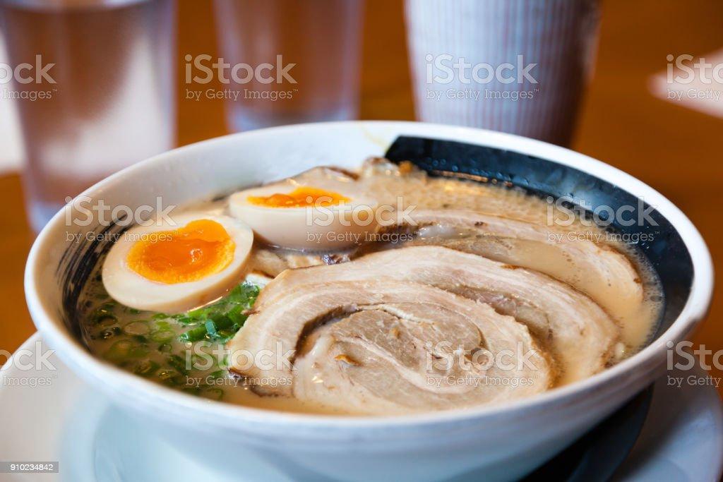 Japanese Barbecued Char Siu Pork Ramen Noodles stock photo