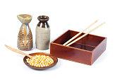 米と日本の弁当箱、弁当のプロポーションと値の人気があります。