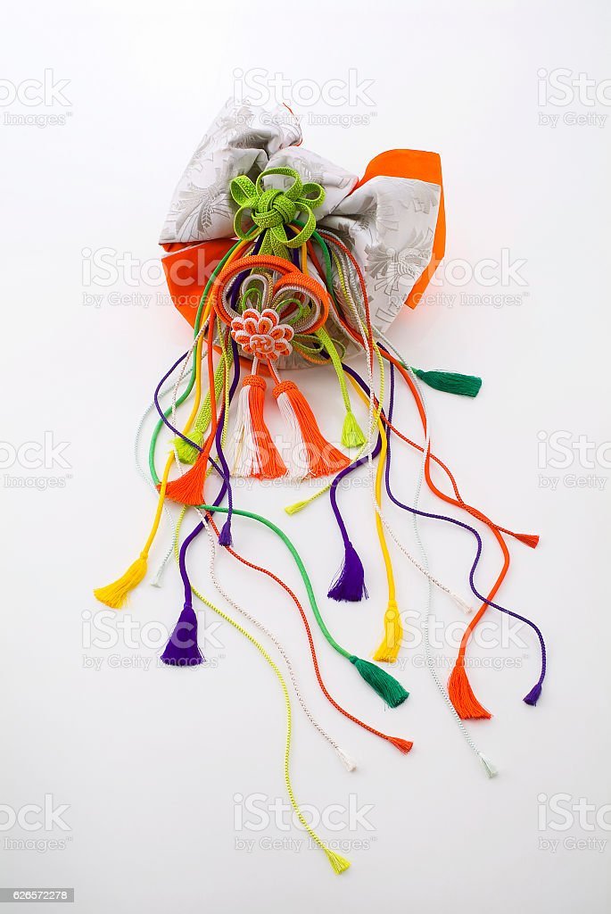 Japanese bow with tassels stock photo