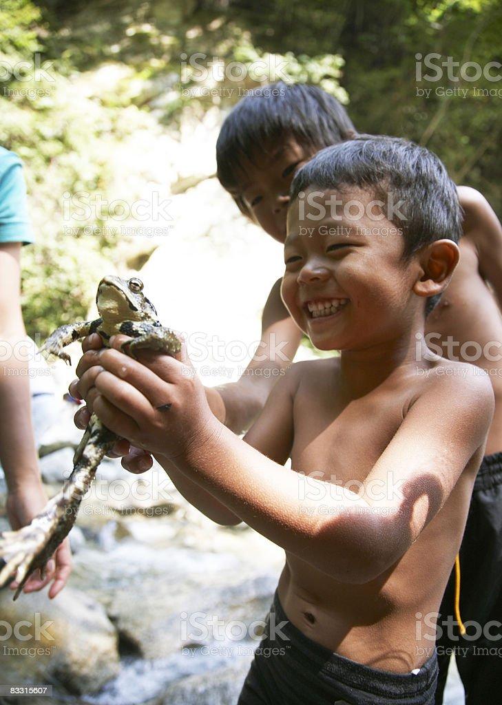 Giapponese ragazzo che tiene una rana, sorridente foto stock royalty-free