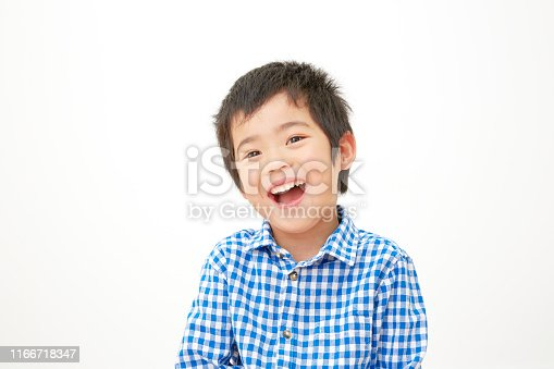 Japanese boy in white background
