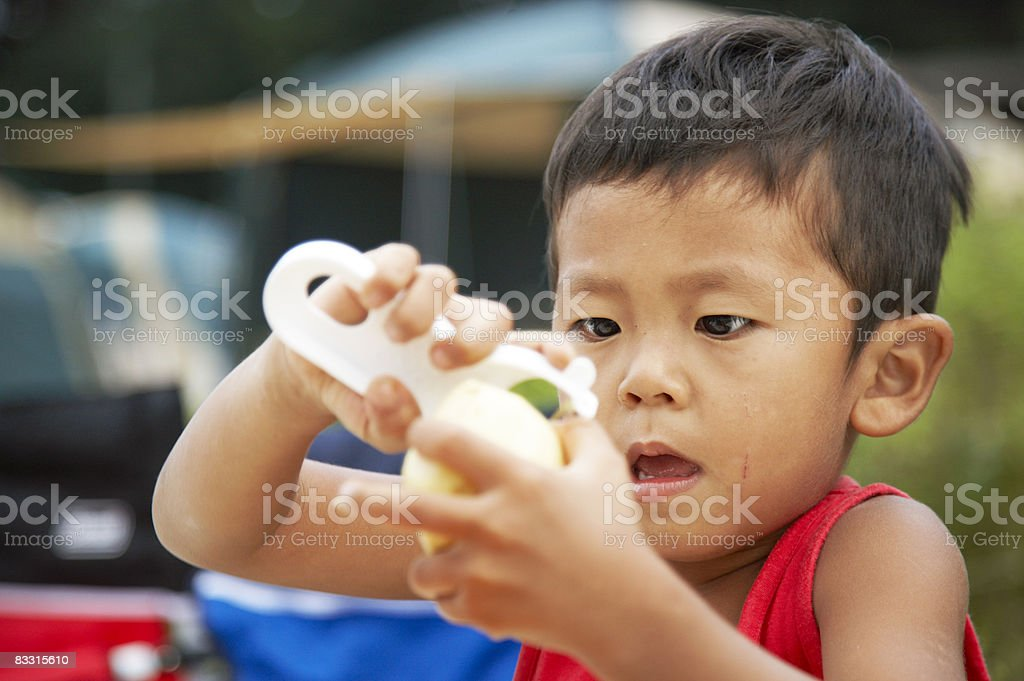 Japanese chłopiec Obierka ziemniak zbiór zdjęć royalty-free