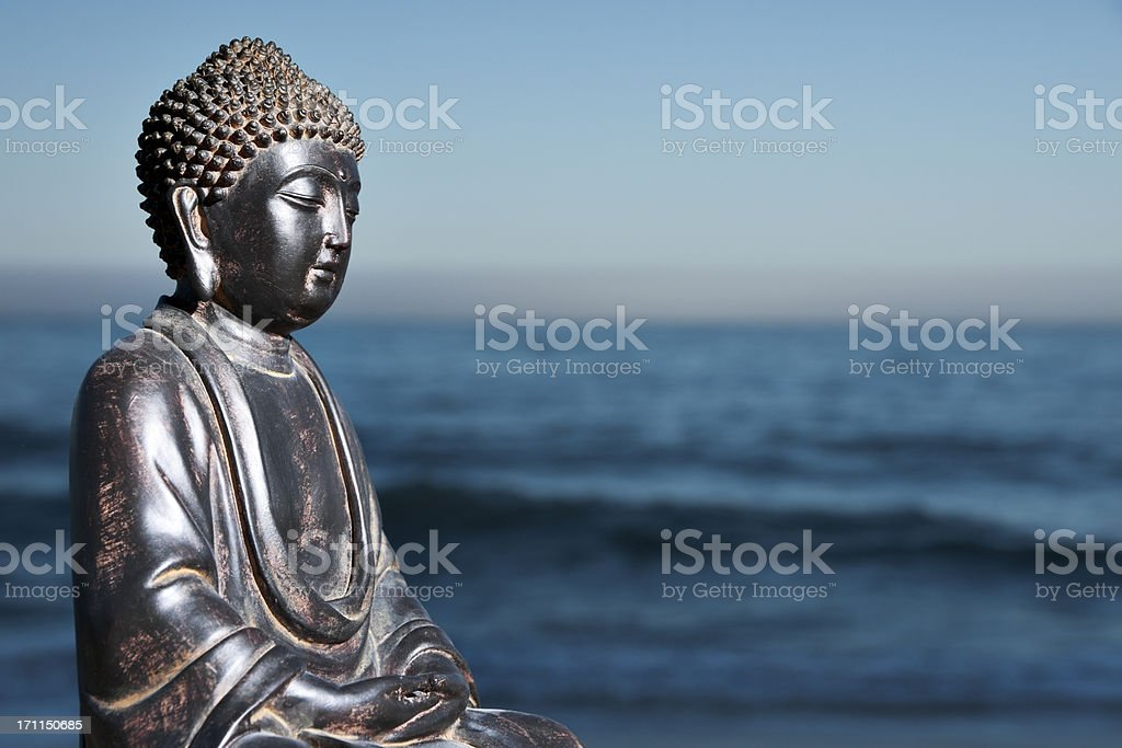 Japanese Buddha Statue at Ocean Shore royalty-free stock photo