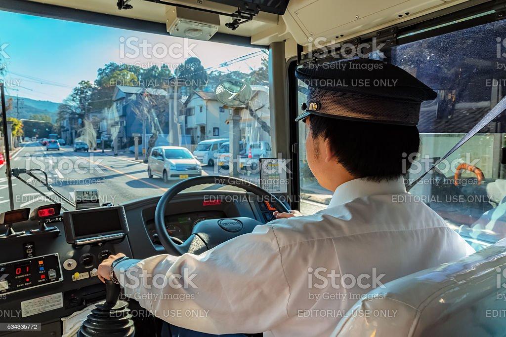 Japanese bus driver stock photo