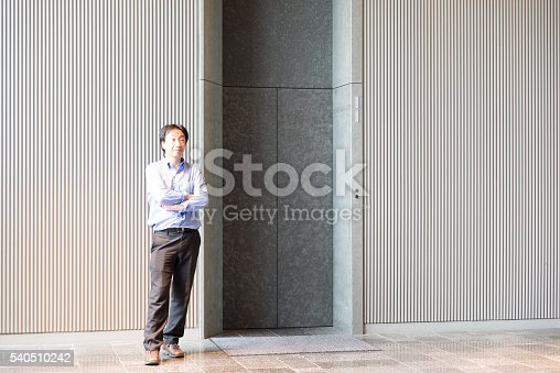 638591126 istock photo Japanese businessman standing and waiting for elevator 540510242