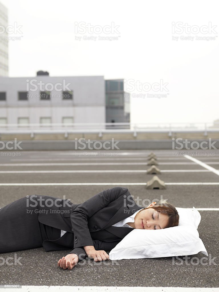 Japanese bussiness woman sleeping  royalty free stockfoto