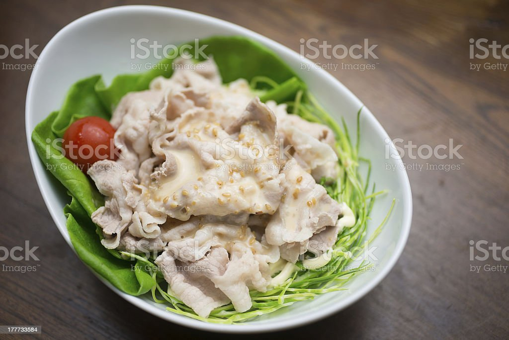 Japanese Buta-shabu (Pork Shabu-shabu,豚の冷しゃぶサラダ) salad stock photo