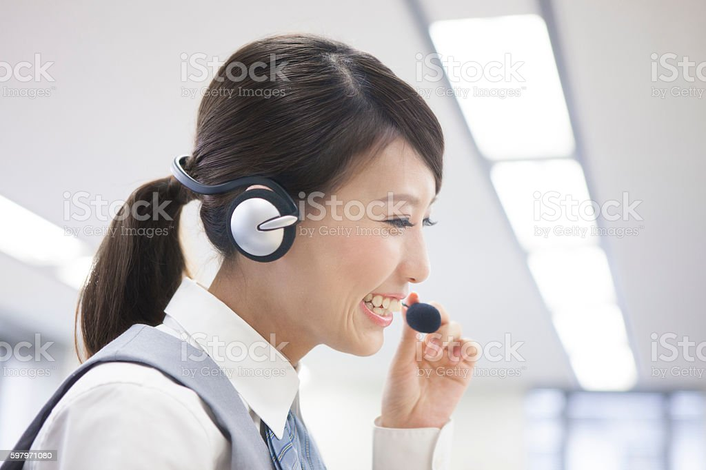 Japanese call centre employee stock photo