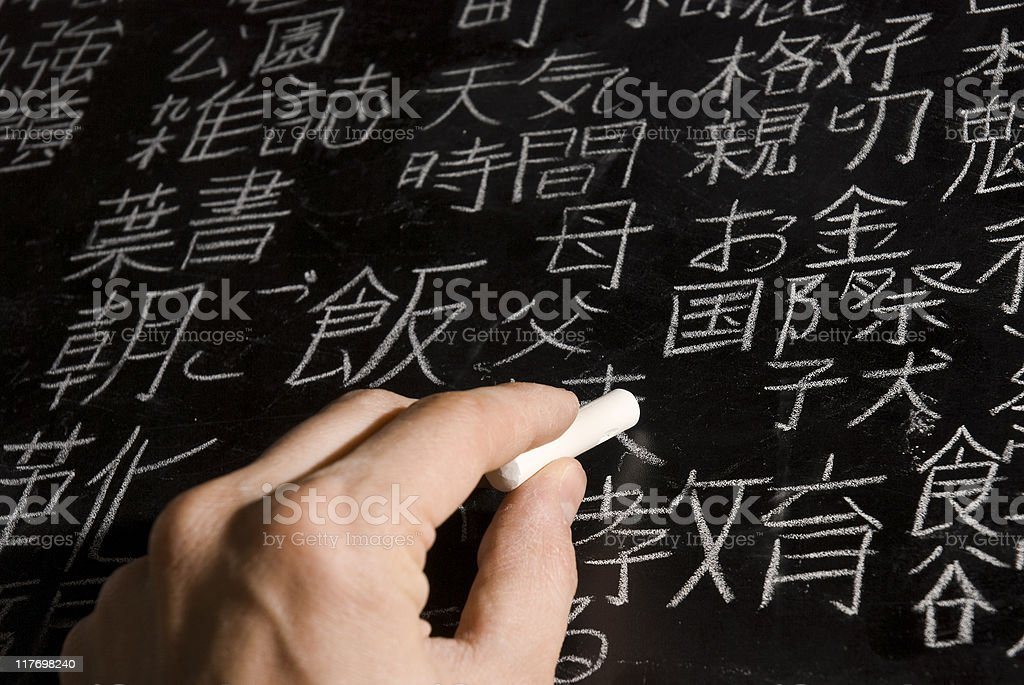 Japanese calligraphy on a chalkboard stock photo
