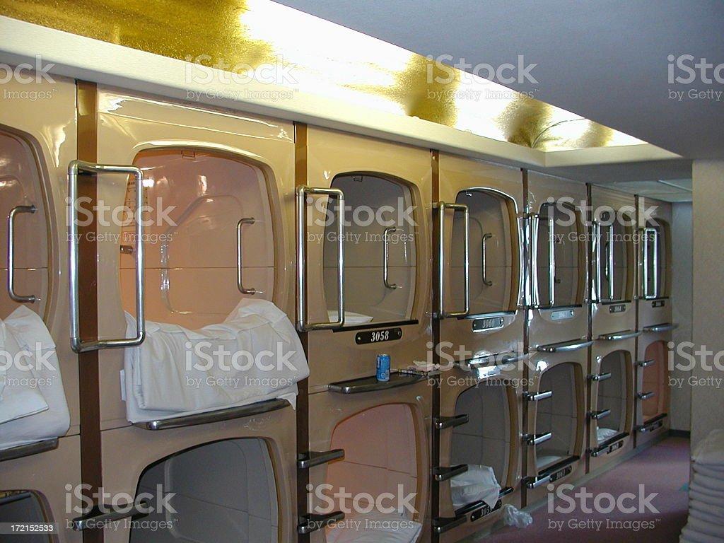 Japanese capsule hotel royalty-free stock photo