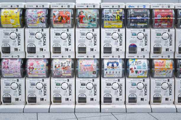 Japanese capsule toy vending machine (Gacha) Fukuoka, Japan- September 21, 2019: Japanese capsule toy vending machine (Gacha) is easy to find along the departure hall at  Fukuoka international airport, Japan  Gacha stock pictures, royalty-free photos & images