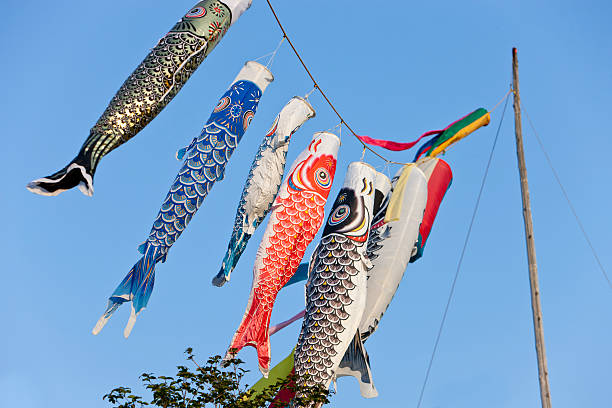 Japanese Carp Flags stock photo