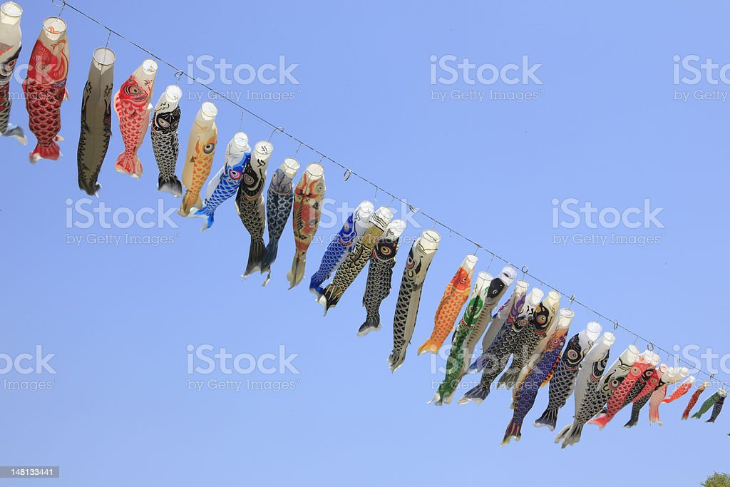 Japanese carp kites, decoration on the Children's Day stock photo