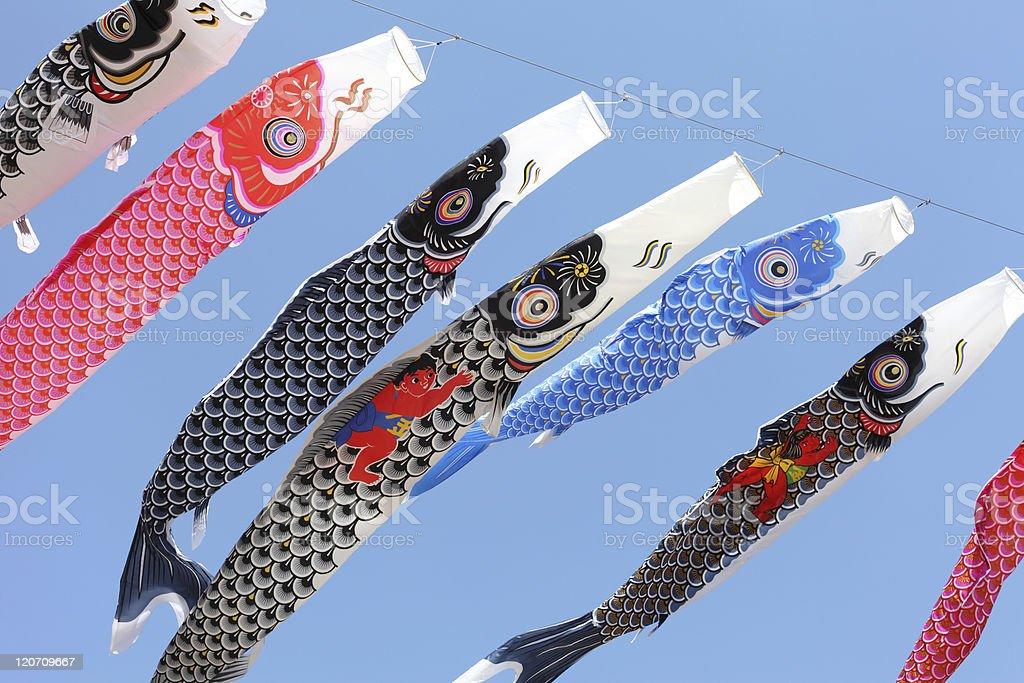 Japanese carp streamer royalty-free stock photo