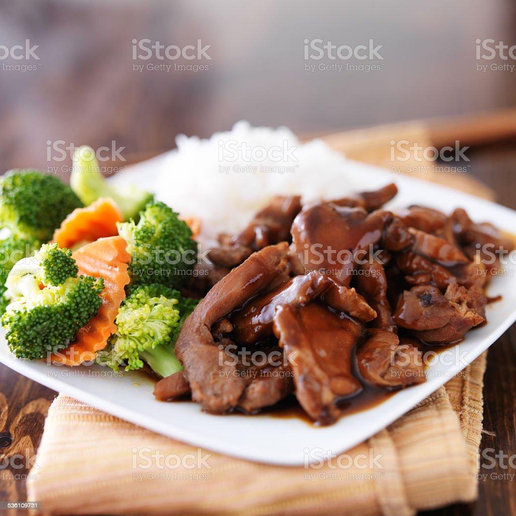 japanese chicken teriyaki dish stock photo