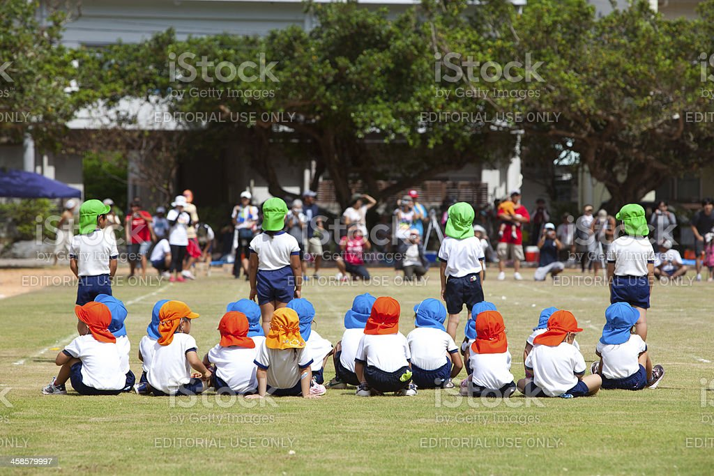 Japanese Children at Sports Day stock photo