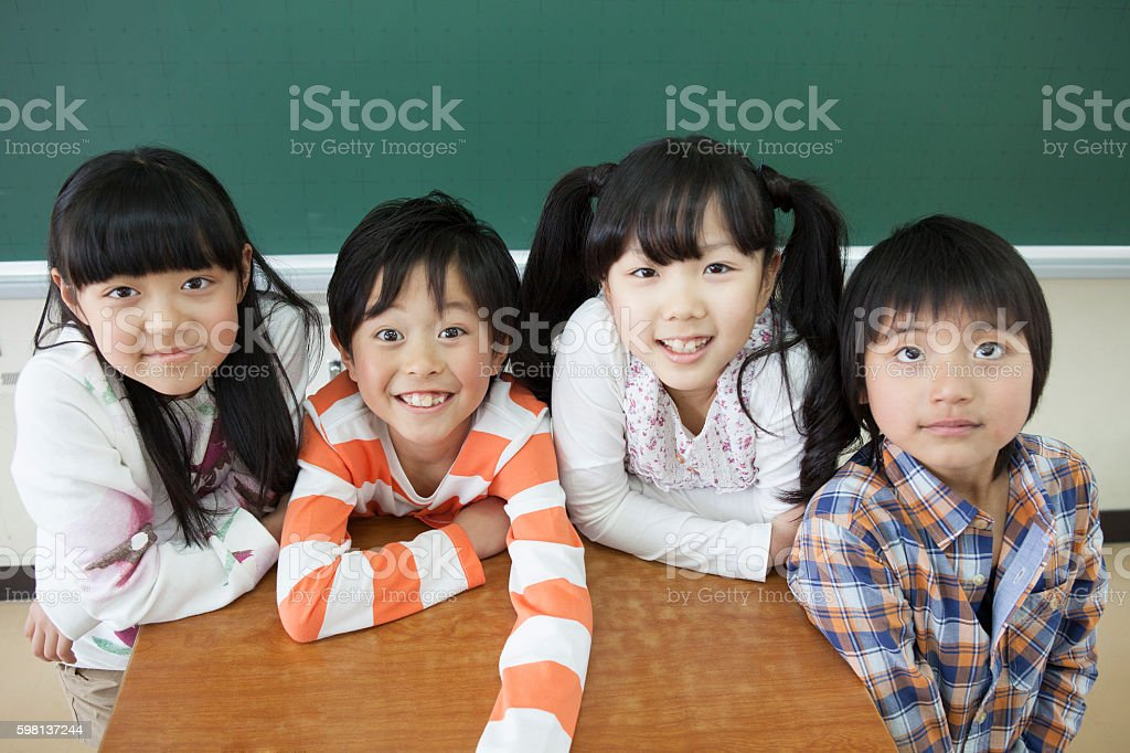 Japanese children in a classroom stock photo