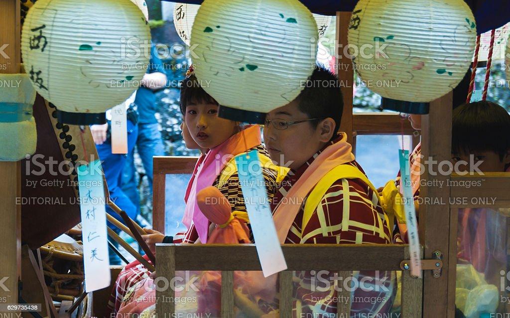 Japanese children on festival float stock photo