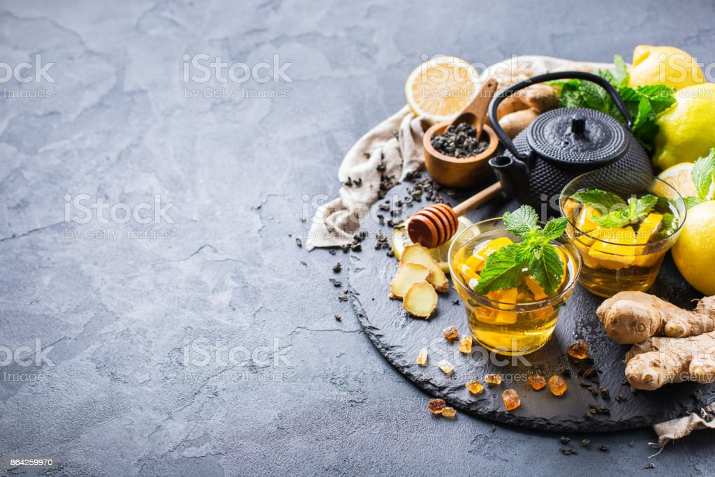 Japanese chinese tea teapot lemon ginger mint honey royalty-free stock photo