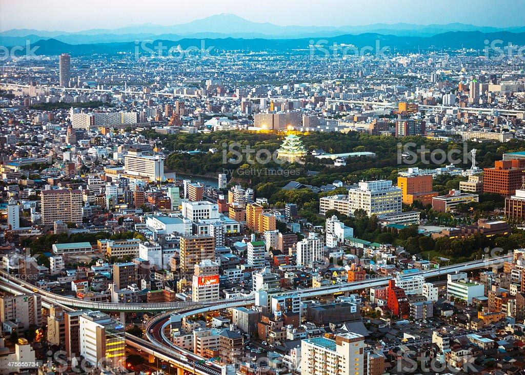 Japanese city by night, Nagoya. stock photo