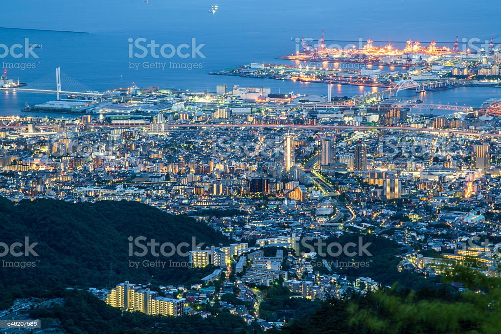 Japanese cityscape in the early evening stock photo
