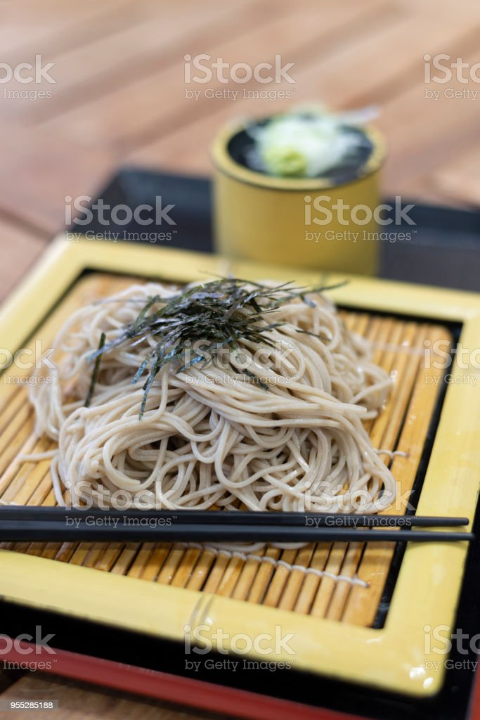Japanese cold noodle set. stock photo