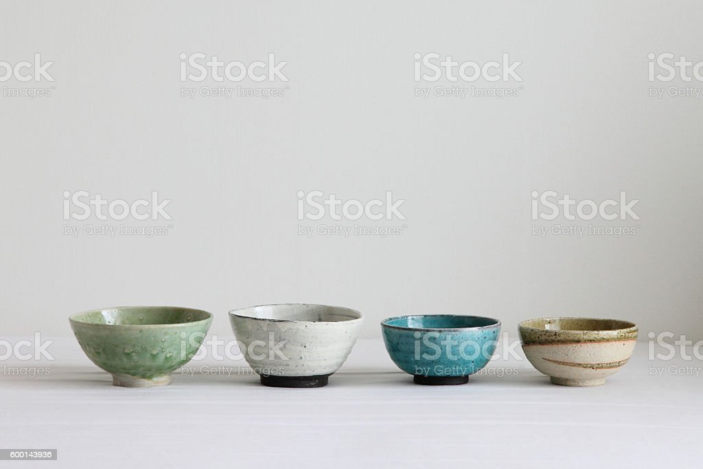 Japanese Colorful Pottery - Bowls stock photo