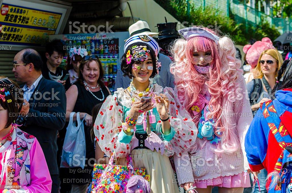 Japanese costume players at Harajuku, Tokyo stock photo