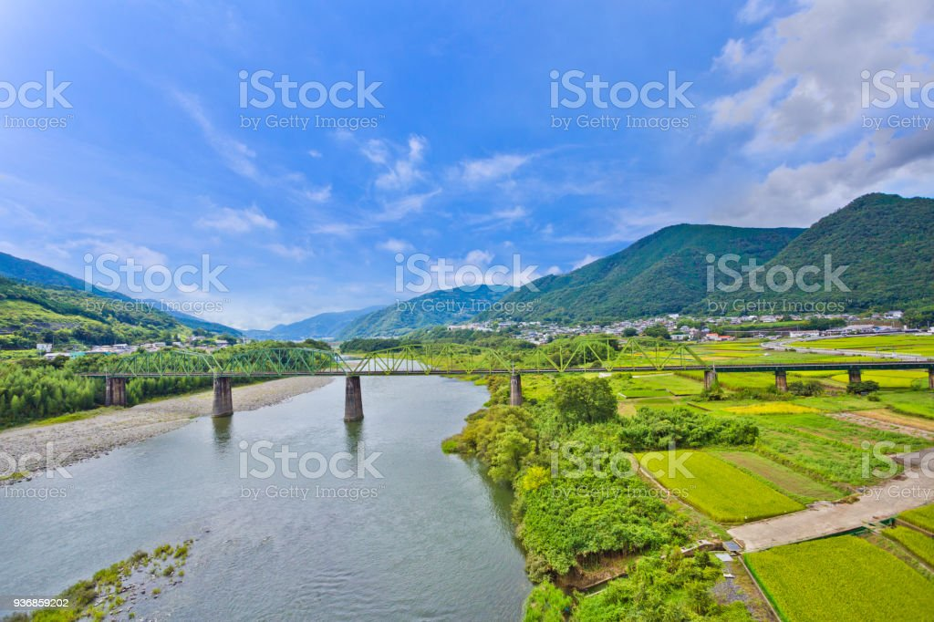 Japanese countryside In Tokushima prefecture, Shikoku, Japan stock photo